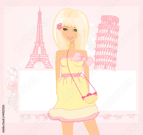 In de dag Doodle beautiful women Shopping in France and Italy