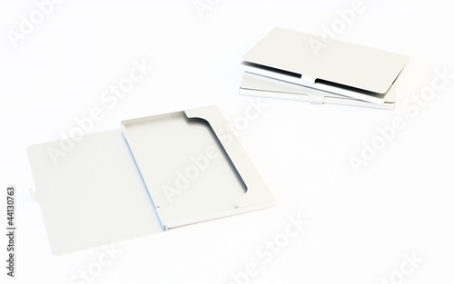 Stapel Visitenkartenetuis Aus Metall Buy This Stock Photo