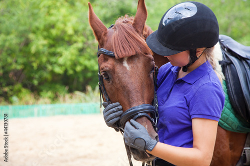 Papiers peints Equitation Girl with horse