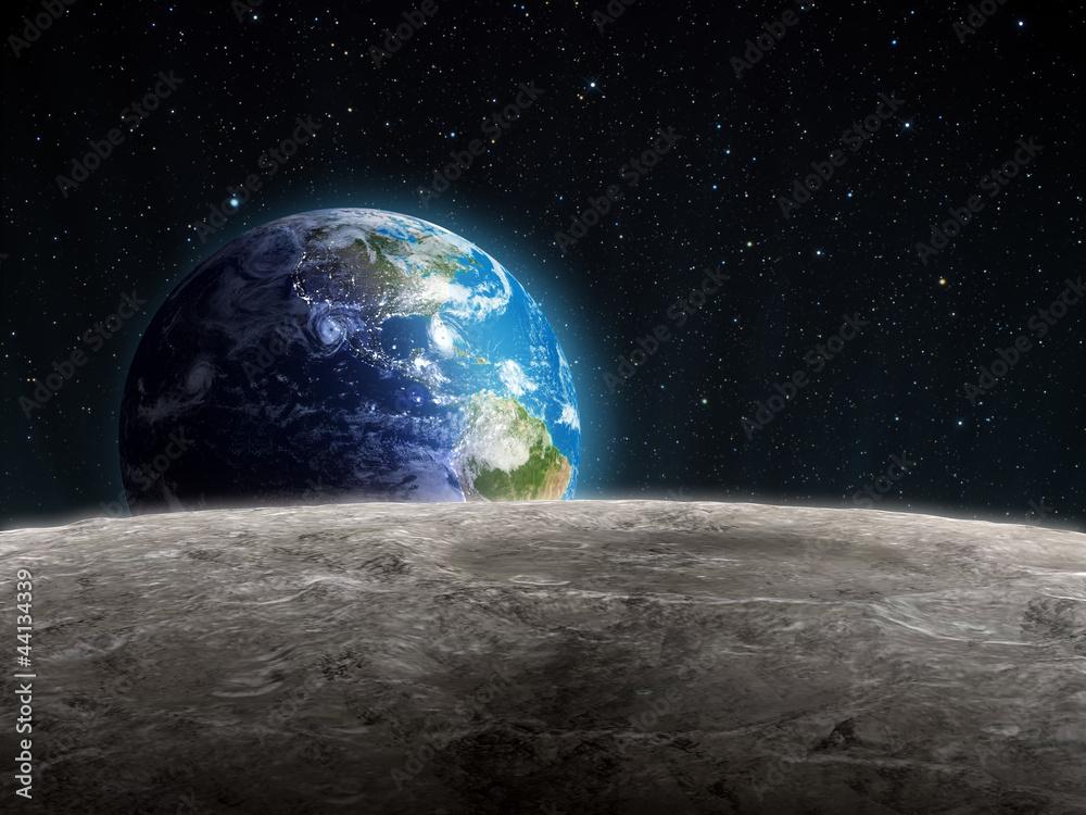 Fototapety, obrazy: Wschodząca Ziemia widziana z Księżyca