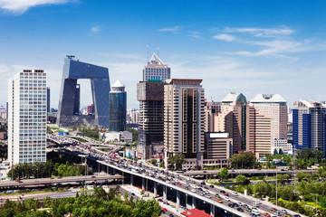 Fototapeta landscape of modern city ,beijing