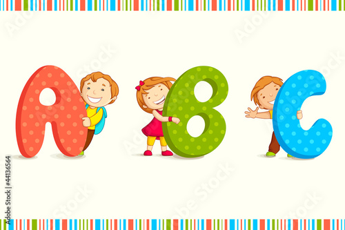 vector illustration of kids peeping behing ABC #44136564