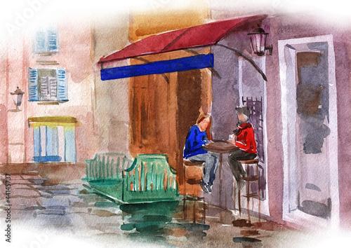 Foto auf AluDibond Gezeichnet Straßenkaffee lovely street