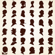 Head Profile Silhouettes, Vect...