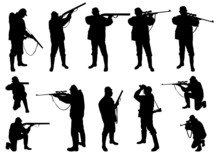 Hunters Silhouettes Collection - Vector