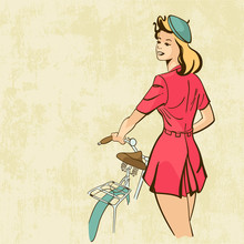 Retro Background Young Woman With Bicycle