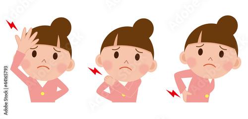 女性 頭痛 腰痛 肩こり Adobe Stock でこのストックイラストを購入して