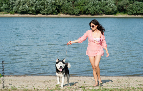 Fotografie, Obraz  girl and dog
