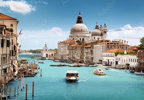 Printed kitchen splashbacks Blue jeans Grand Canal and Basilica Santa Maria della Salute, Venice, Italy