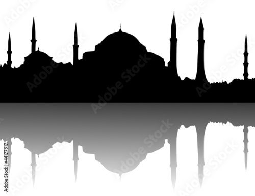 Silhouette - Hagia Sophia, Istanbul Fototapet