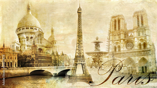 Foto op Plexiglas Retro beautiful Paris - vintage post card