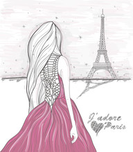 Girl Looks At Eiffel Tower. Hand Drawn Paris Postcard.
