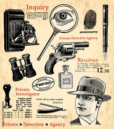 Papiers peints Affiche vintage Le détective privé