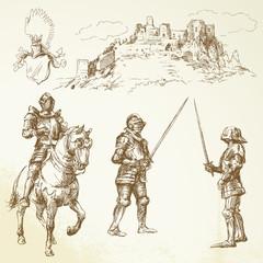 Fototapeta na wymiar middle age knights