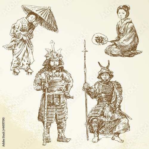 samurai - warrior in Japanese tradition - hand drawn collection Poster