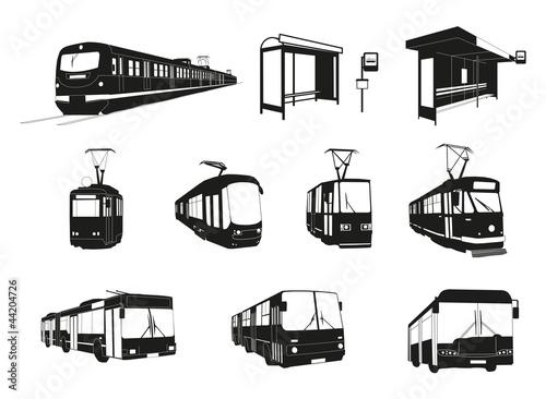 Fotografie, Obraz  Transport miejski - duży zestaw wektorowy