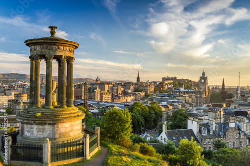 View of the castle from Calton Hill at sunset
