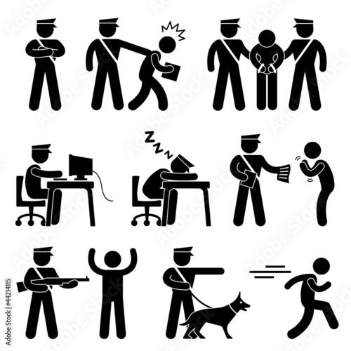 Fotografía  Security Guard Police Officer Thief Icon Symbol Sign Pictogram