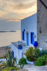FototapetaTraditional house at sunset,  Milos island, Cyclades, Greece