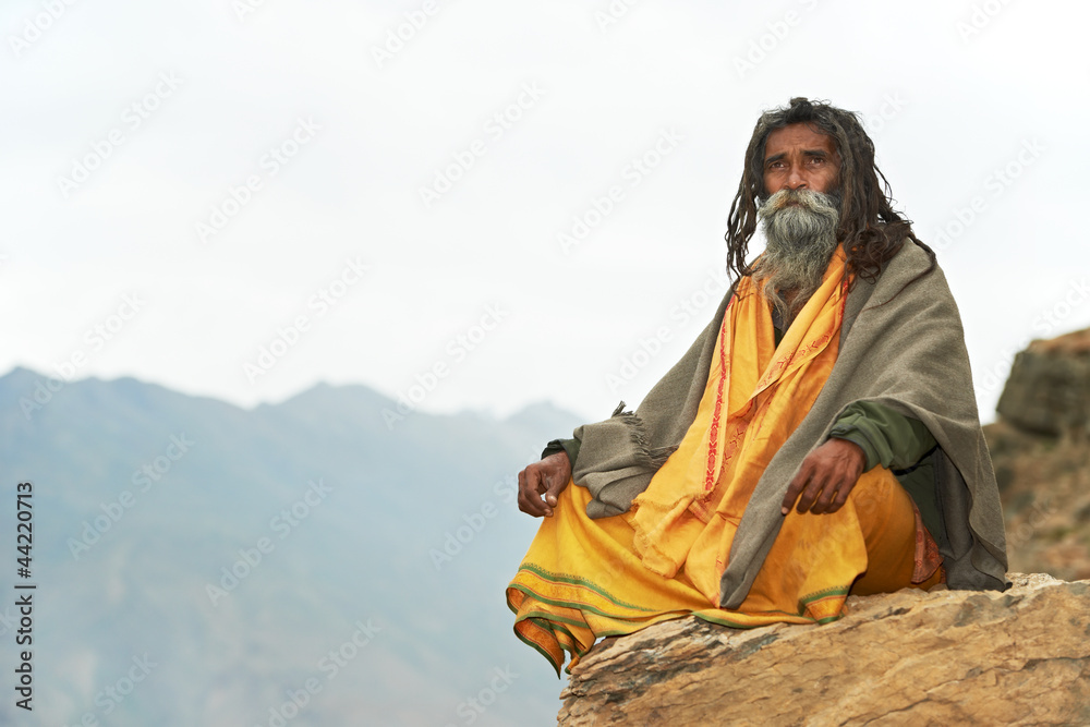 Fototapety, obrazy: Indian monk sadhu
