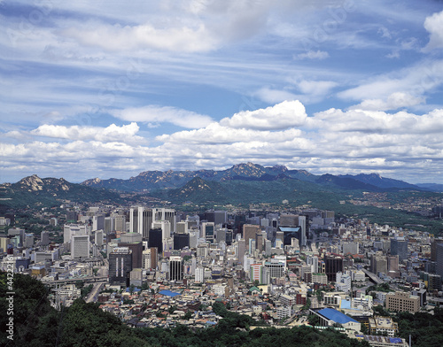 Photo  whole view of Seoul from Namsan
