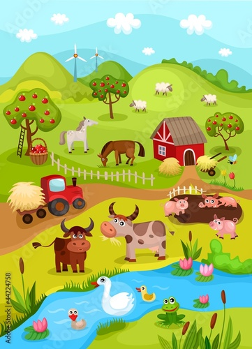 Canvas Prints River, lake farm card