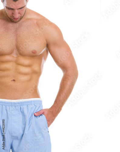 Poster Akt Closeup on man with great abdominal muscles