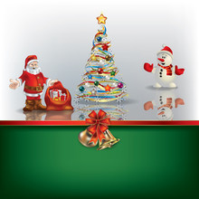Christmas Background With Sania Snowman And Tree