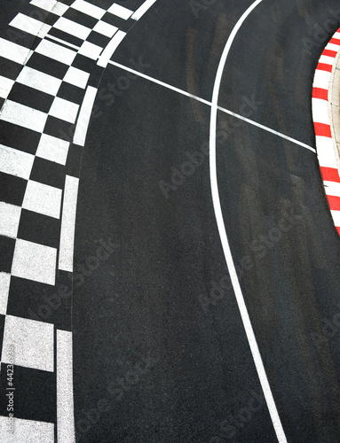 Car race asphalt on Monaco Grand Prix street circuit