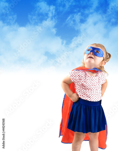 Fotografie, Obraz  Little Super Hero Rescue Child
