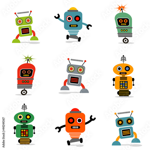 Montage in der Fensternische Roboter set of cute vector retro robots