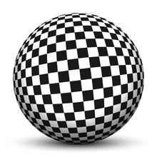 Kugel, 3D, Schach, Schachbrett, Muster, Schachmuster, Quadrate