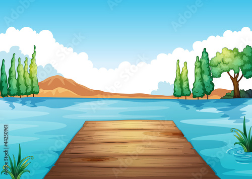 Canvas Prints River, lake water and bench
