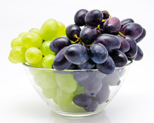 Ripe Red And Green Grapes In The Bowl Isolated