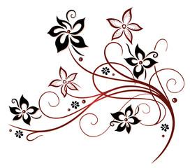 NaklejkaRanke, flora, Blume, Blüte, border, frame, black, red