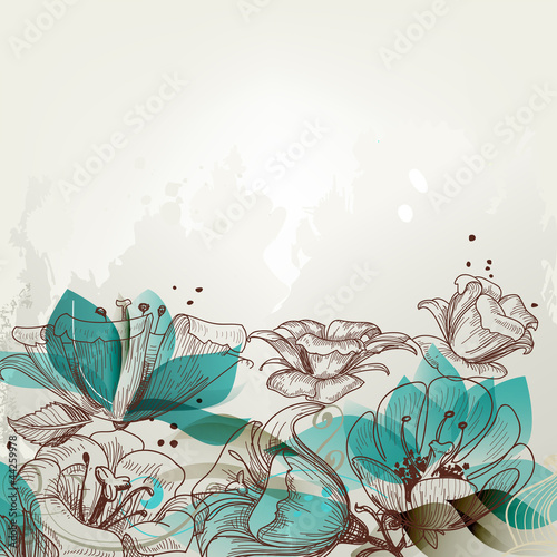 Deurstickers Abstract bloemen Retro floral background