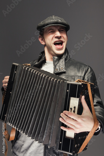 Fototapeta Man with accordion