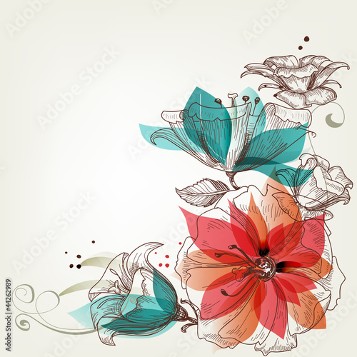 Deurstickers Abstract bloemen Vintage flowers background