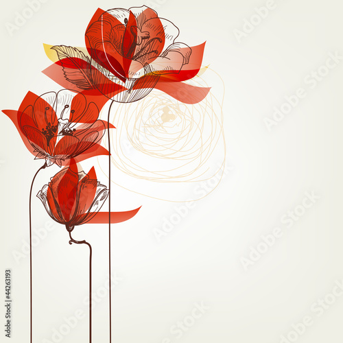 In de dag Abstract bloemen Vector flowers greeting card