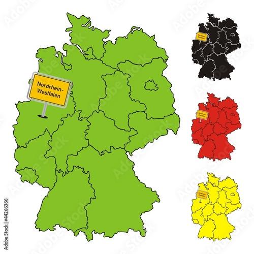 Nordrhein Westfalen Deutschland Bundesland Karte Buy This