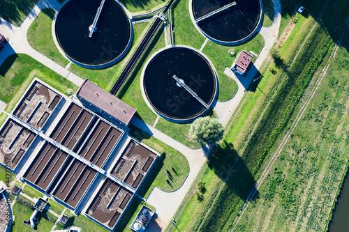 Fotografía  aerial view of sewage treatment plant