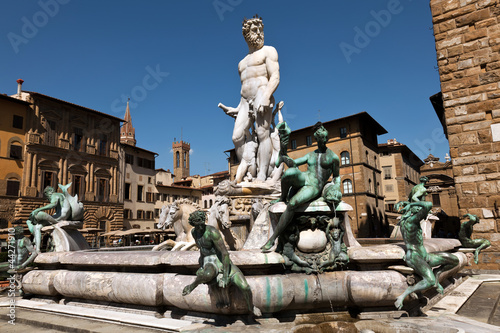 Fotografie, Obraz  The Fountain of Neptune in Florence, Italy