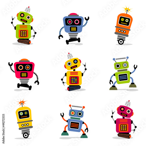 Photo  et of cute vector retro robots 2