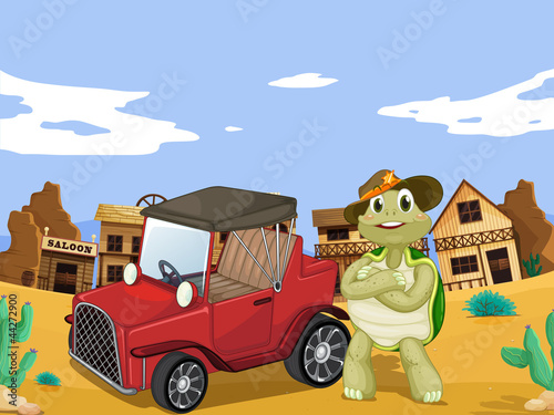 Deurstickers Wild West tortoise and car