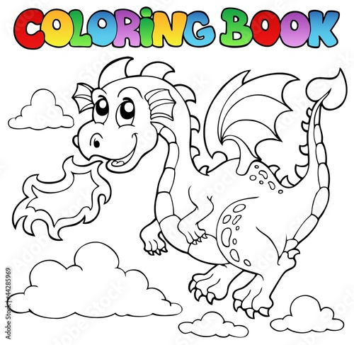 Spoed Foto op Canvas Doe het zelf Coloring book dragon theme image 3