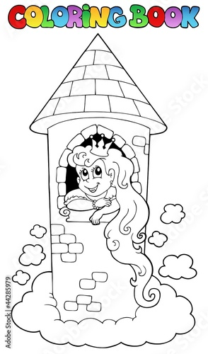 Spoed Foto op Canvas Doe het zelf Coloring book princess theme 1