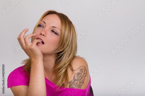 Fototapeta Beatiful blonde woman thinking obraz na płótnie