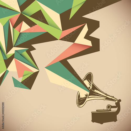 Fototapeta na wymiar Angular abstraction with old gramophone.