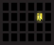 One Yellow Window On Wall