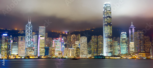 Keuken foto achterwand Hong-Kong Hong Kong skyline at mist over Victoria harbor